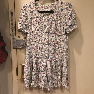 Vintage Pleated Floral Drop-Waist Romper Sz 7